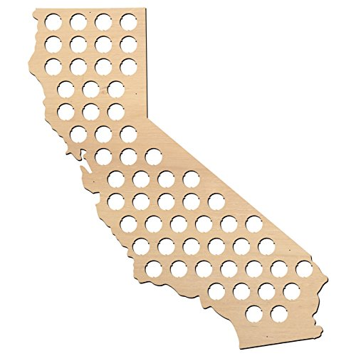California Beer Cap Map - 20x23 inches - 57 caps - Beer Cap Holder California - Birch Plywood … (Unusual Valentine Gifts For Him)