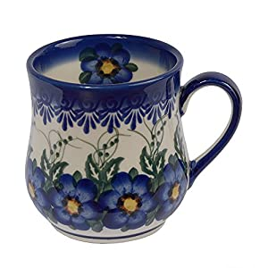 Traditional Polish Pottery, Handcrafted Ceramic Drop-shaped Mug (350 ml /12.3 fl oz), Boleslawiec Style Pattern, Q.102.PANSY