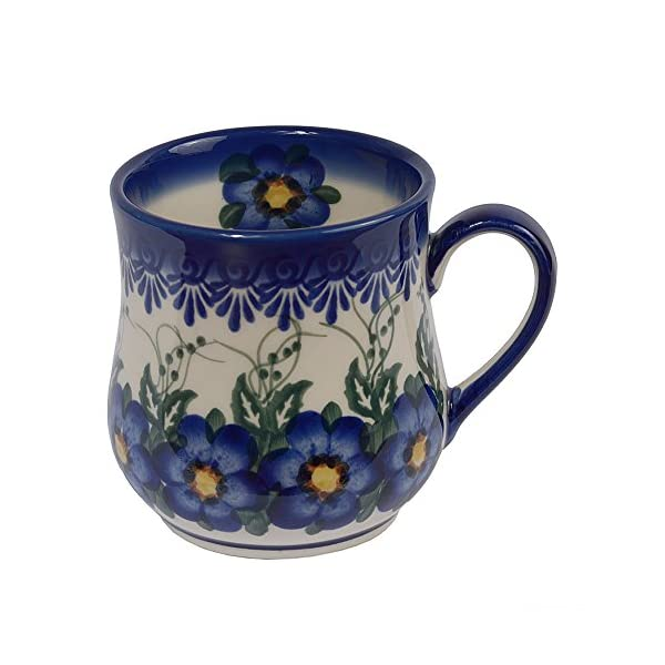 Traditional Polish Pottery, Handcrafted Ceramic Drop-shaped Mug (350 ml /12.3 fl oz), Boleslawiec Style Pattern, Q.102.PANSY
