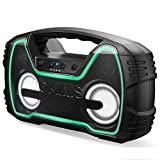 Bluetooth Speakers, AOMAIS 40-Hour Playtime Portable Outdoor Wireless Speaker with 10000mAh Battery, 25W Loud Volume & Deeper Bass / IPX7 Waterproof/LED Lights for Party, Pool, Beach [2019 Newest]