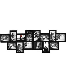 57 x 86 cm Relaxdays Marco de Fotos m/últiple Formato Vertical o apaisado Negro 24 fotograf/ías 9 x 13 Pl/ástico