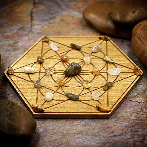 New Beginnings Mini Crystal Grid Set with Labradorite, Citrine, Moonstone, Gold Tiger Eye, and 6
