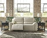 Ashley Valeton U7350047 86 Leather Match 2-Seat Reclining Power Sofa with Plush Padded Arms Jumbo Stitching Details and Split Back Cushions in Cream