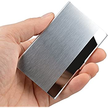 Amazon business card holder case for businesspeople and maxgear professional business card holder business card case stainless steel card holder keep business cards in reheart Gallery
