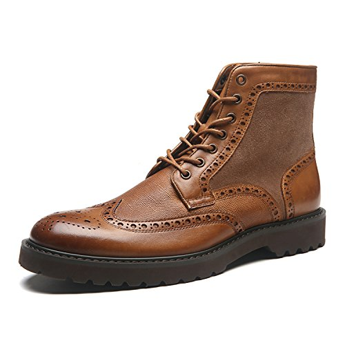 La Milano Men's Leather Winter Boots Wingtip Lace Up Classic Casual Comfortable Dress Boot For Men (Snowboard Outlet Boots)