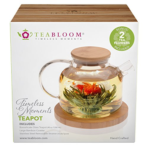Review Teabloom Stovetop Safe Glass Teapot with Bamboo Lid (40oz/1200ml) + Loose Leaf Tea Filter Spo...