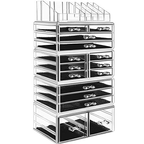 hblife Makeup Organizer 5 Pieces Acrylic Cosmetic Storage Drawers and Jewelry Display Box, Large ()