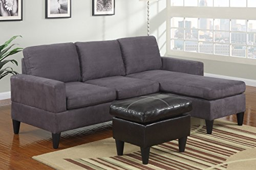 Advanced Modern Grey Microfiber Reversible Sectional Sofa Chaise Ottoman Set with clean lines and a strong design by Advanced Furniture
