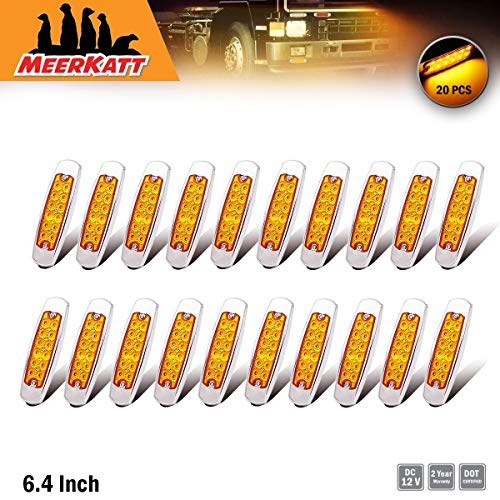 """Style Freightliner (Meerkatt (Pack of 20) 6.4"""" Inch Slim Amber LED 12 Diodes Side Marker Light Surface Mount Sealed Clearance Lamp Waterproof w/Chrome Bezel Flatbed Turn Signal Kenworth Peter-style Universal 12v DC BB12)"""