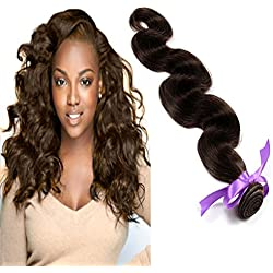 eCowboy 6A Brazilian Human Hair Body Wave Bundle On Sale Best Quality Hair Weave Extensions Weft Track 100% Human Hair GUARANTEED Dark Brown #2 color - 22 Inch