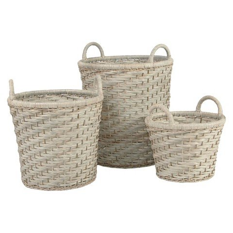 Metro Round White Rattan Half-Core Storage Basket. Set of 3 Baskets that can be used as Laundry Hampers, Blanket or Throw Storage. Stylish and Sturdy Design for Bedroom or Living Room.