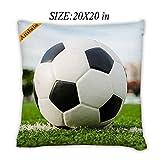 Artsbaba Pillowcases Soccer Ball Zipped Pillowcase Decorative Throw Pillow Cover 20''x20''