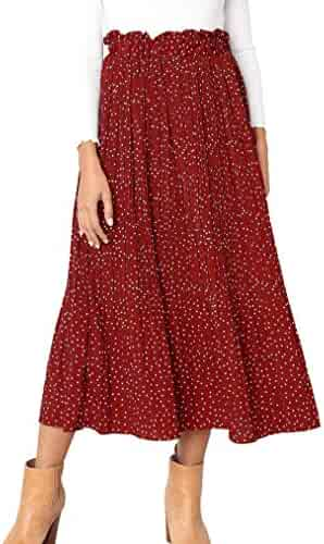 41e819647 Naggoo Womens Casual Front Button A-Line Skirts High Waisted Midi Skirt  with Pockets