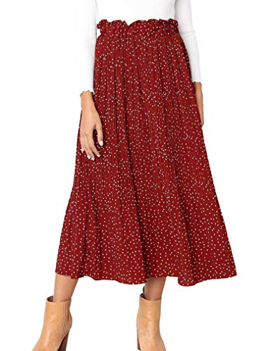Womens Polka Dot Pockets Pleated Skirt Vintage Puffy Swing Casual High Waist Midi Skirt Ankle Length Skirts Red,XL