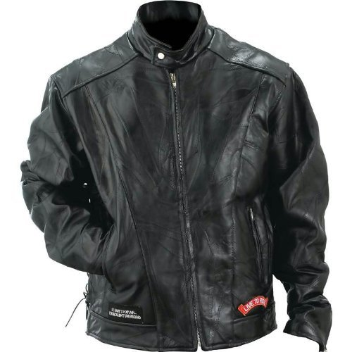 Diamond Plate Leather Motorcycle Jacket- 4X
