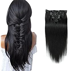 """Black Color Double Weft Clip in Human Hair Extensions Full Head 14""""-20"""" Grade 8A Quality 7pcs 16clips Long Soft Silky Straight 100% Remy Human Hair Clip In (16''-70g #1B)"""