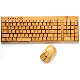 100% Natural Bamboo Wooden Wireless Keyboard and Mouse Combo using SINGLE 2.4GHz Receiver, with Convenient 7-key Multimedia Functionality