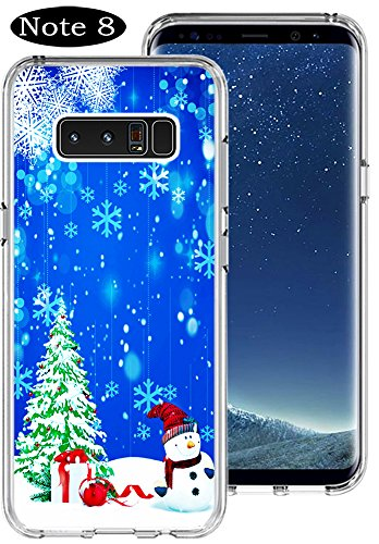 Merry Christmas Case for Galaxy Note 8,Gifun [Anti-Slide] and [Drop Protection] Soft TPU Protective Case Cover for Galaxy Note 8 (2017) - Christmas Snow and Christmas Tree and Snowman