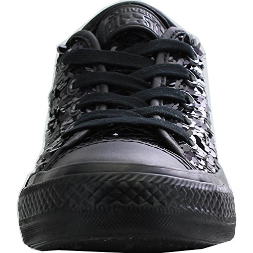 Converse Chuck Taylor All Star Sequin OX Black Textile Trainers BLACK|METALLIC