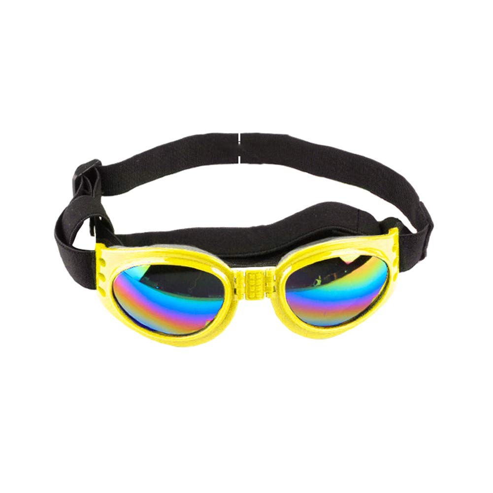 Yellow Durable Safety Convenient khkadiwb Large and Small Dog Toys//Goggles for Dog//Dog Accessories//Foldable Dog Sunglasses Wind-Proof Anti-Picking UV Proof Glasses Pet Supplies