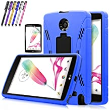Windrew Heavy Duty rugged impact Hybrid Case with Build In Kickstand Protective Case For LG G Pad F 8.0 / LG GPad II 2 8.0 Inch Tablet + Screen Protector Film and stylus pen (Blue)