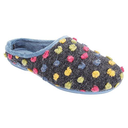 Sleepers Womens/Ladies Amy Spotted Knit Mule Slippers Blue/Multi xKJackO