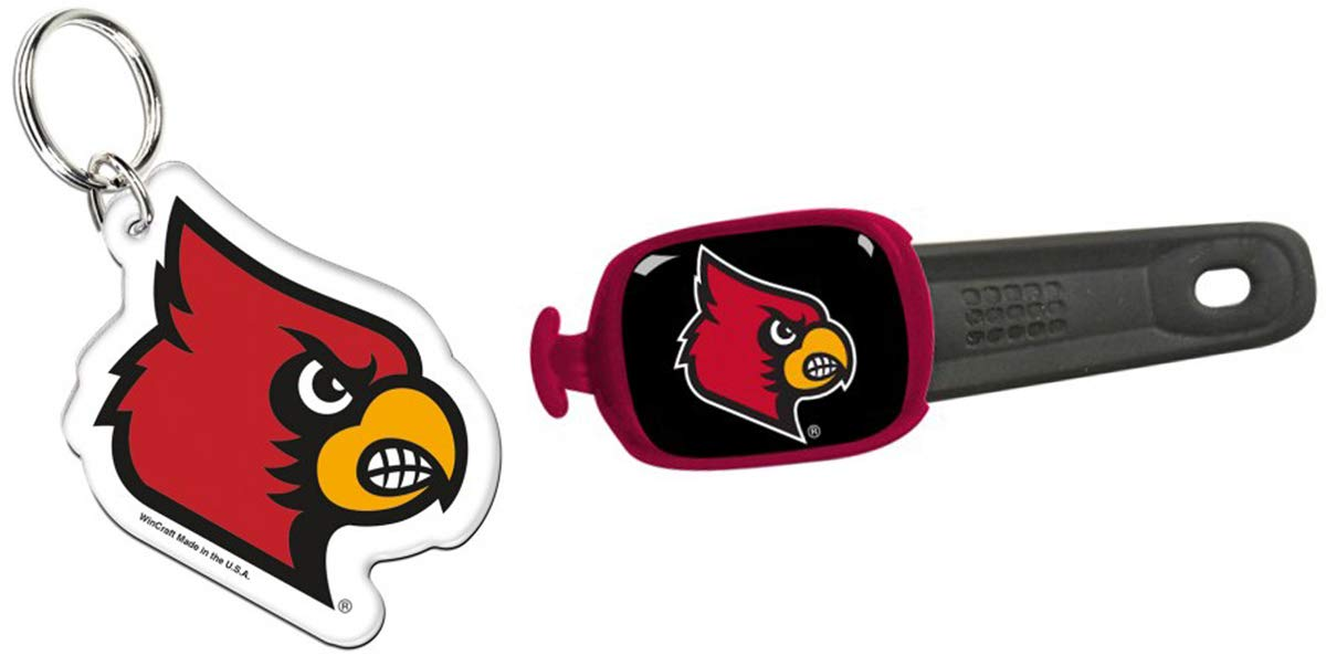 WinCraft Bundle 2 Items: University of Louisville Cardinals Acrylic Key Ring and Stwrap Bag Id