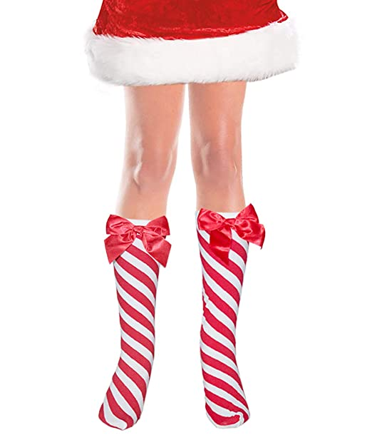 5dd7779b5 Image Unavailable. Image not available for. Color  Costume Adventure Women s  Below The Knee Red and White Striped Candy Cane Christmas Stockings