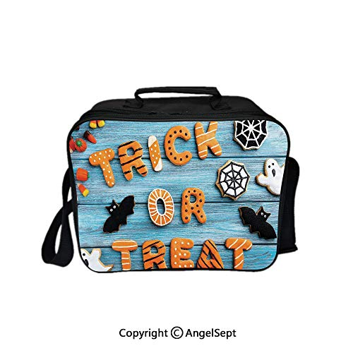 Lunch Box Carry Case Handbags,Trick or Treat Cookie Wooden Table Ghost Bat Web Halloween Blue Amber Multicolor 8.3inch,With Zipper For Adults Kids Teachers -