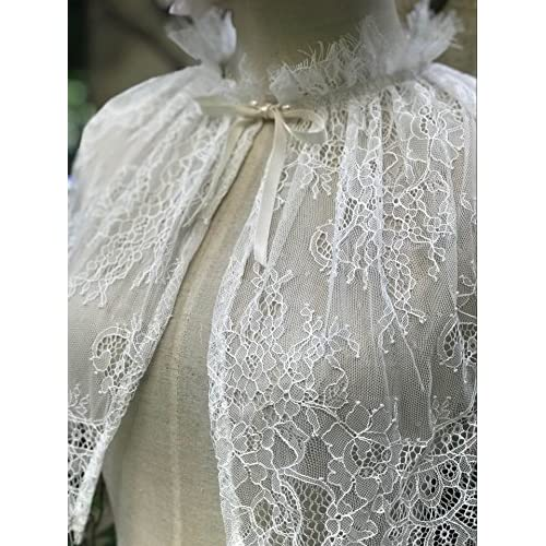 YuRong Bridal Lace capelet Tulle Lace Cape Cover Up for Strapless ...