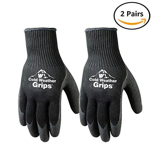 - 2 Pairs Cold Weather Latex Winter Work Gloves, Medium (526MN)