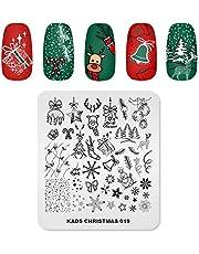 KADS Nail Art Stempelen Plaat Kerst Eland Sneeuwpop Bell Ballon Kerstboom Nail Afbeelding Plaat Decoratie Ontwerp Tool (CH019)