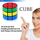 Speed Cube, Jakpak Cylindrical Cube Speed Puzzle Cube 3x3 Smooth Adjustable Tensioning Magic Cube Twisty Puzzle Game for Kids Brain Intellectual Development Speedcubers Puzzles Toys, Black