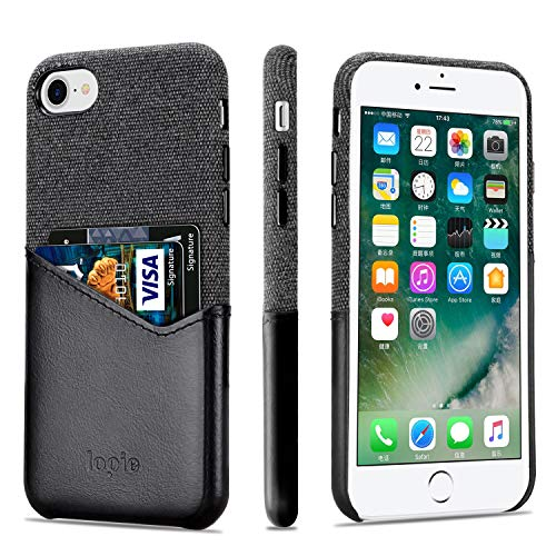 Direct Leather Coat - Lopie [Sea Island Cotton Series] Slim Card Case Compatible for iPhone 7 and iPhone 8, Fabric Protection Cover with Leather Card Holder Slot Design, Black