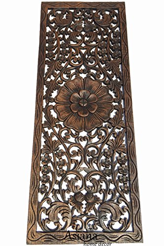 Floral Wood Carved Wall Panel. Decorative Wall Art. Rustic H