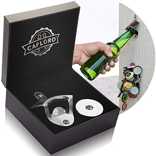 Bottle Opener Wall Mounted with Magnetic Cap Catcher Stainless Steel, Unique Fathers Day Gifts for Dad Beer Lovers, Cool Housewarming Gifts Funny for Men, Birthday Gifts for Man, Novelty Bday Presents -