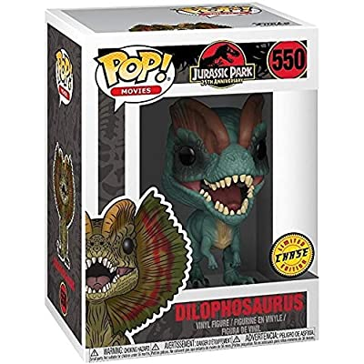 Funko Pop! Movies: Jurassic Park - Dilophosaurus Frill Closed CHASE Variant Limited Edition Vinyl Figure (Bundled with Pop Box Protector Case): Toys & Games