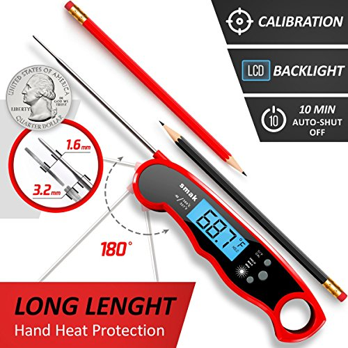 Digital Instant Read Meat Thermometer  Waterproof Kitchen Food Cooking Thermometer with Backlight