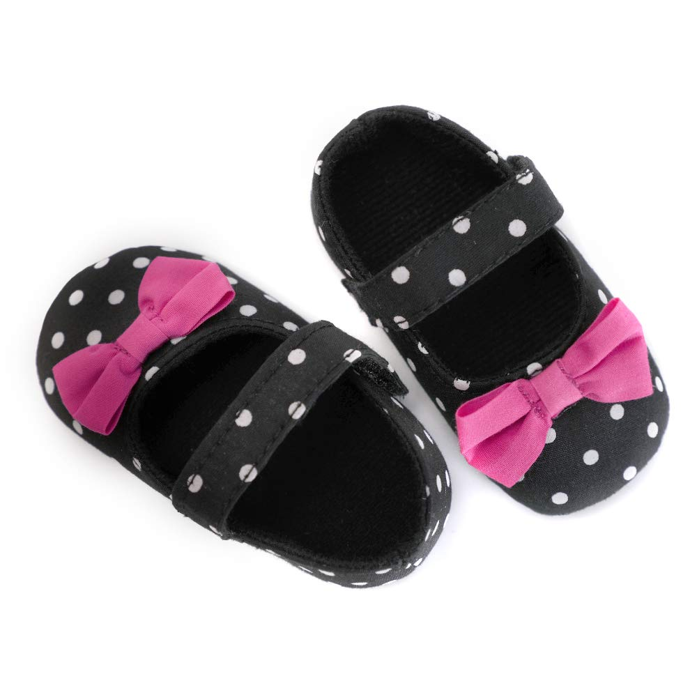 MZjJPN Baby Girls First Walker Infant Polka dot Hook Loop Butterfly-Knot Toddler First Steps Crib Babies Shoes