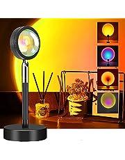 Sunset lamp, zonsondergang projectielamp, RGB projectorlamp, zonsonderganglamp, regenboog staande lamp met USB-netwerk, rood licht, nacht, slaapkamer, decoratie, moed, lamp, app-bediening, 16 kleuren