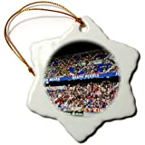 3dRose orn_59223_1 Extremely Dedicated Red Bulls Soccer Fans-Snowflake Ornament, 3-Inch, Porcelain