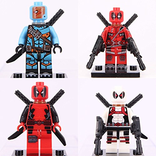 4 pcs Deadpool & Deathstroke Mini Figure Super Hero Marvel Dc comic Custom Lego (Hetalia America Keychain)