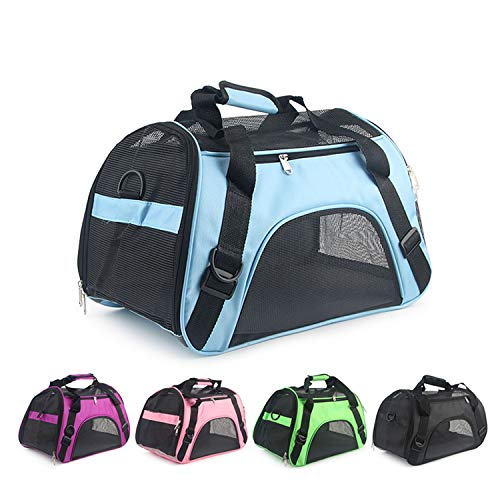 ZZmeet Purple Portable Pet Bag Pink Dog Carrier Bags Blue Cat Carrier Outgoing Travel Breathable Pets Handbag,Pink,L 52X27X35cm ()