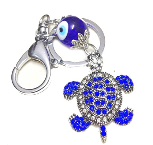 Evil Eye Protection Turtle (Discount4product Beautiful Metal Turtle tortoise keychain, car hanging/door Hanging with evil eye)