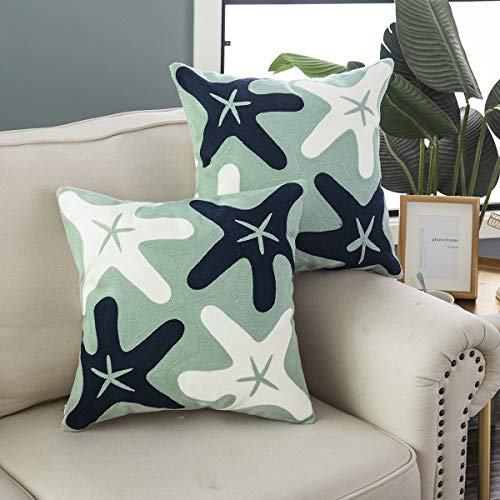 - Taisier Home Embroidered Navy Blue&White Starfish Throw Pillow Covers, Square 18 Inches Naturial Style for Baby Bedding Pillow Cover,Set of 2 Pieces