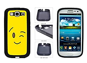 Bright Yellow Wink Smiley Face TPU RUBBER SILICONE Phone Case Back Cover Samsung Galaxy S3 I9300