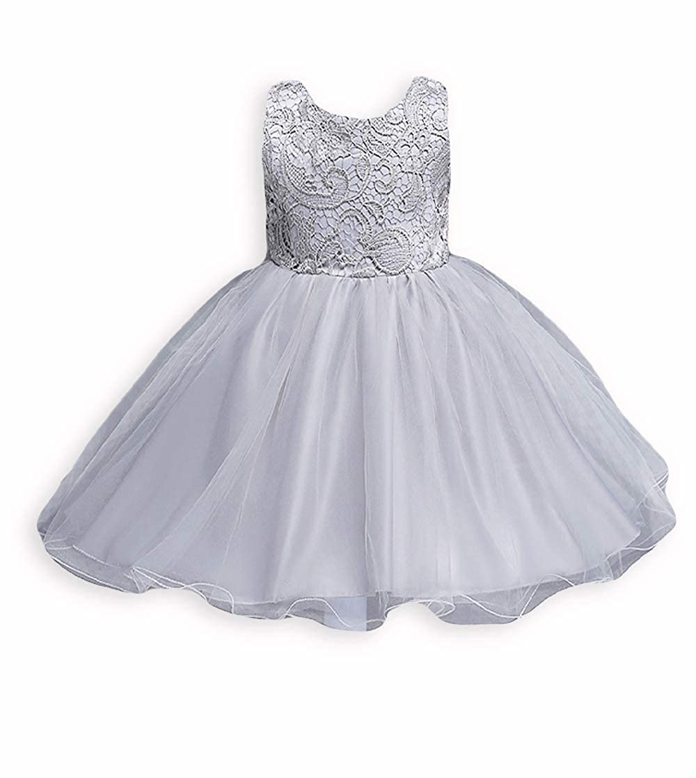 21KIDS Baby Girls Tulle Lace Flower Bridesmaid Gown Backless Dress with Bow for Party Wedding G0403-C0201