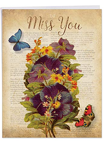 Pansy Note Card - J6477AMYG Jumbo Miss You Greeting Card: Fluttering Words, Featuring a Collage of Vintage Pansy and Butterfly Images with an Antiqued Book Page, With Envelope (Extra Large Size: 8.5 x 11 Inch)