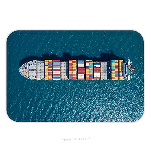 Flannel Microfiber Non Slip Rubber Backing Soft Absorbent Doormat Mat Rug Carpet Container Container Ship In Import Export And Business Logistic By Crane Trade Port Shipping 560404090 For Indoor Outdo