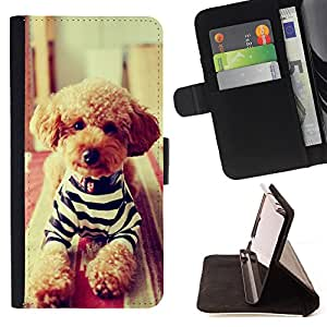 King Air - Premium PU Leather Wallet Case with Card Slots, Cash Compartment and Detachable Wrist Strap FOR Apple iPhone 4 4S 4G- Dog Cute Pattern Kidding